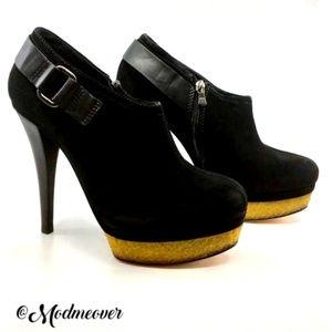 NEW BCBG MaxAzria Adele Black Suede Platform Heels